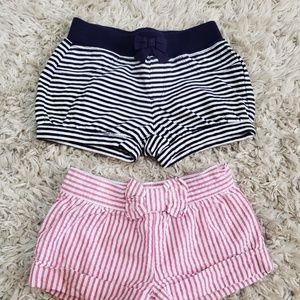 Girls gymboree striped shorts 2T pink & navy.